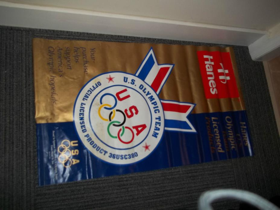 Hanes U.S. Olympic Team 2 sided vinyl banner 43 by 24 Inches - 1996