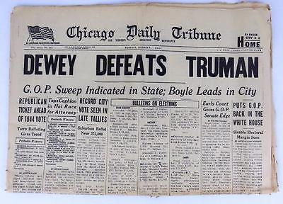 DEWEY DEFEATS TRUMAN Nov 3 1948 Chicago Tribune Authentic Original Newspaper