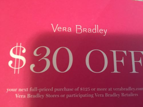 Vera Bradley $30 off Coupon for Full-Priced Purchase of $125 Valid 1/12- 2/28