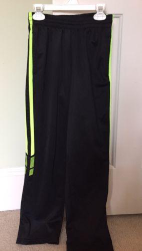 TEK GEAR Boys Sweat Pants Black Neon Yellow Stripes 100% Poly Size M 10/12 EUC