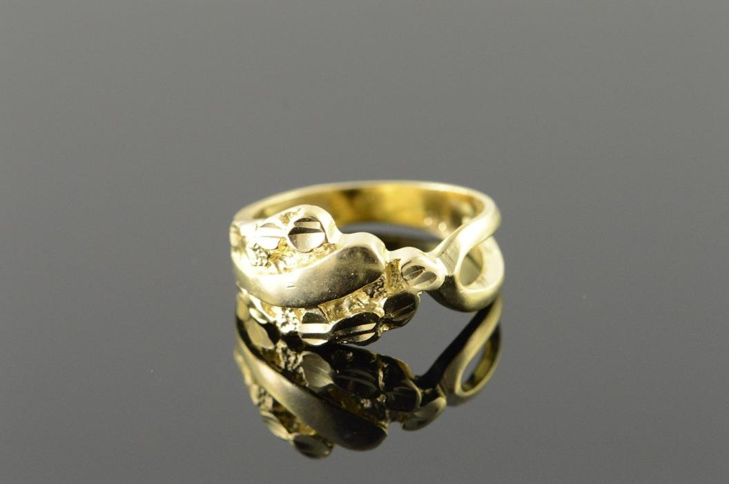 14K Nugget Bypass Band Ring Size 6 Yellow Gold