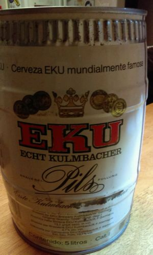 Eku Kulmbacher Pils 5 Liter Beer Can /Keg West Germany Gallon Can