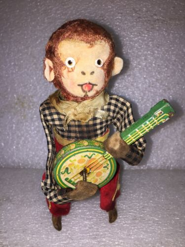 Vintage Rare 50's Tin Wind Up Monkey Playing Banjo Works  Very Nice