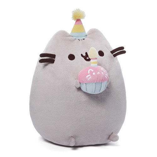Gund New * Birthday Pusheen * 10.5-Inch Plush Cat Grey Tabby Kitty Stuffed Toy