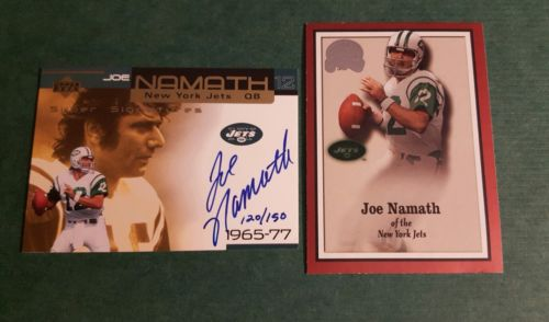 Joe Namath Autograph Signed Upper Deck 1965-77 Jets Fleer Greats of the Game