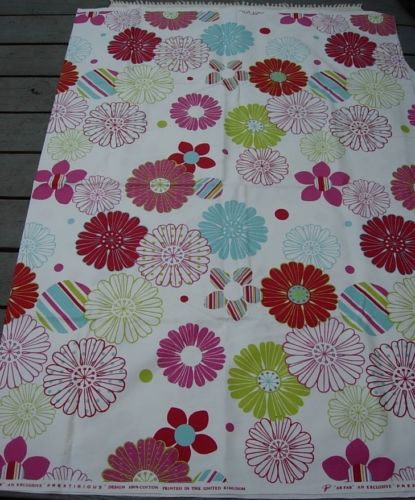 AB FAB TV SHOW Design 100% Cotton Fabric MADE in the UK BRIGHT 80s FLOWERS