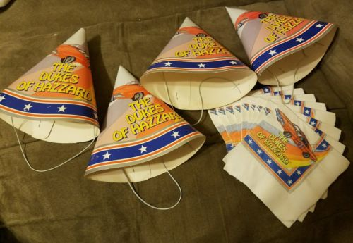 Dukes of Hazzard general lee PARTY HATS 1981 vintage plus napkins make offers