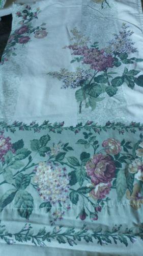 Vtg Dan River Percale Stripe Floral King Flat Sheet  Shabby Cottage Chic Roses