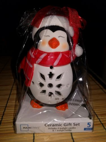 Tealight Candle Holder and Candles Penguin Christmas Ceramic Gift Set