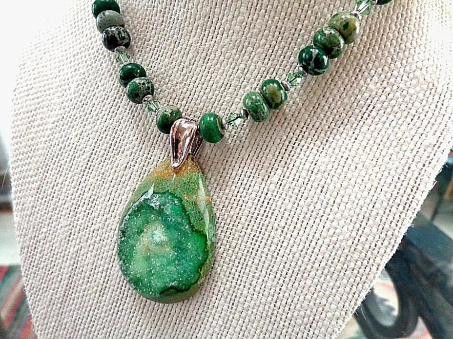 GREEN AGATE DRUZY STERLING SILVER BEADED NECKLACE