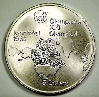 1976 Canada Olympiad 5 Dollar Silver Coin, 92.5% Silver