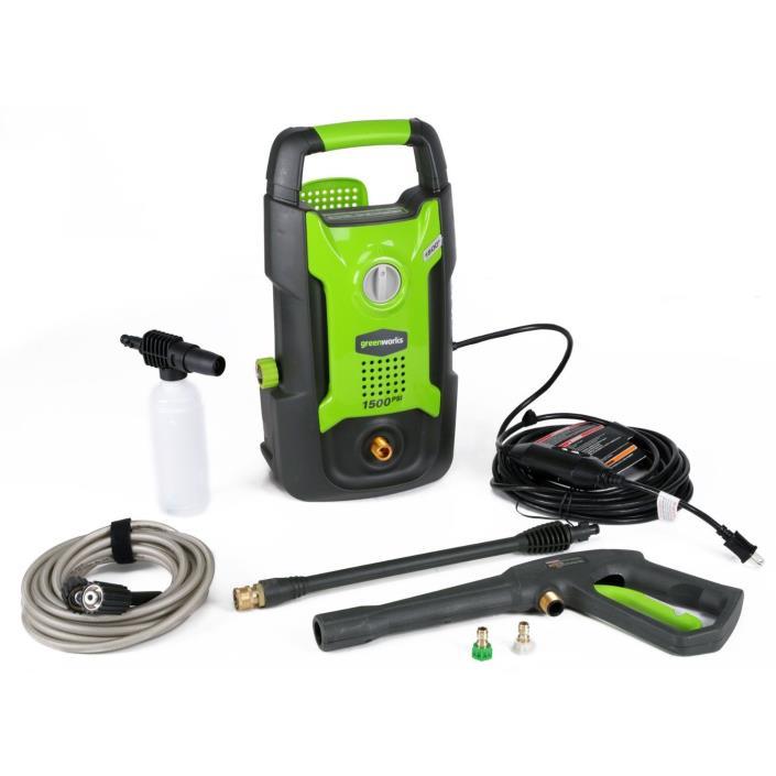 New GreenWorks GPW1501 13 amp 1500 PSI 1.2 GPM Electric Pressure Washer GFCI