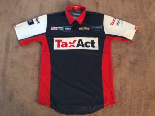 Men's TAX ACT PIT Crew Shirt Nascar Stewart Haas Chevy Simpson Sz S.  (2-26)