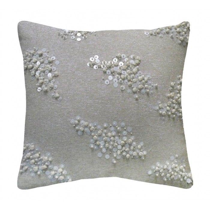 Ivory & Silver Lurex w Hand Beading Pillow 20 x 20