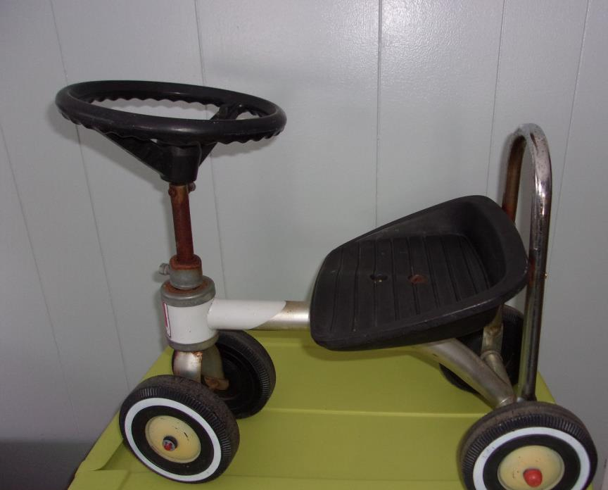 ANTIQUE CLASSIC AMF JUNIOR RIDE ON BIKE W/SISSY BAR ,STEERING WHEEL 4 WHEELS