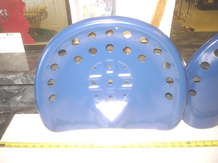 2 NEW BLUE  ANTIQUE STYLE HORSE FARM MACHINE & TRACTOR METAL BAR STOOL SEAT