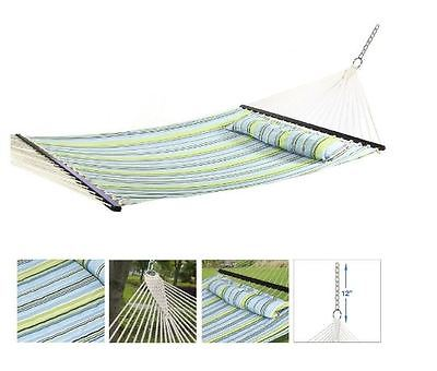 Quilted Top Hammock Fabric w/ Pillow Double Size Spreader Bar Beach Patio Garden