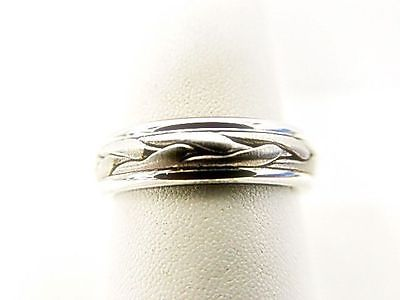 PLATINUM ROPE WEAVE SATIN POLISHED WEDDING BAND CUSTOM