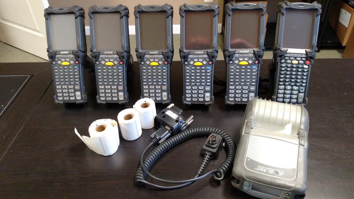 Lot of 6x Symbol Motorola MC9060-GF0HBEEA4WW Barcode Scanner w/ QL320 Printer