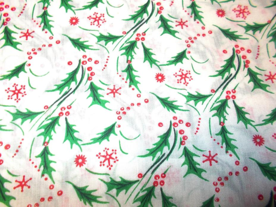 Christmas holly print sewing fabric 2 yards woven cotton or blend 45