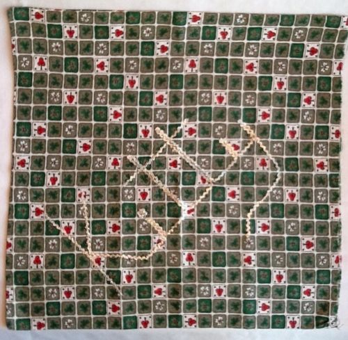 Vintage Cotton Red Green Clover Print Fabric Pillow Cover Silver Ric-Rac Kitty