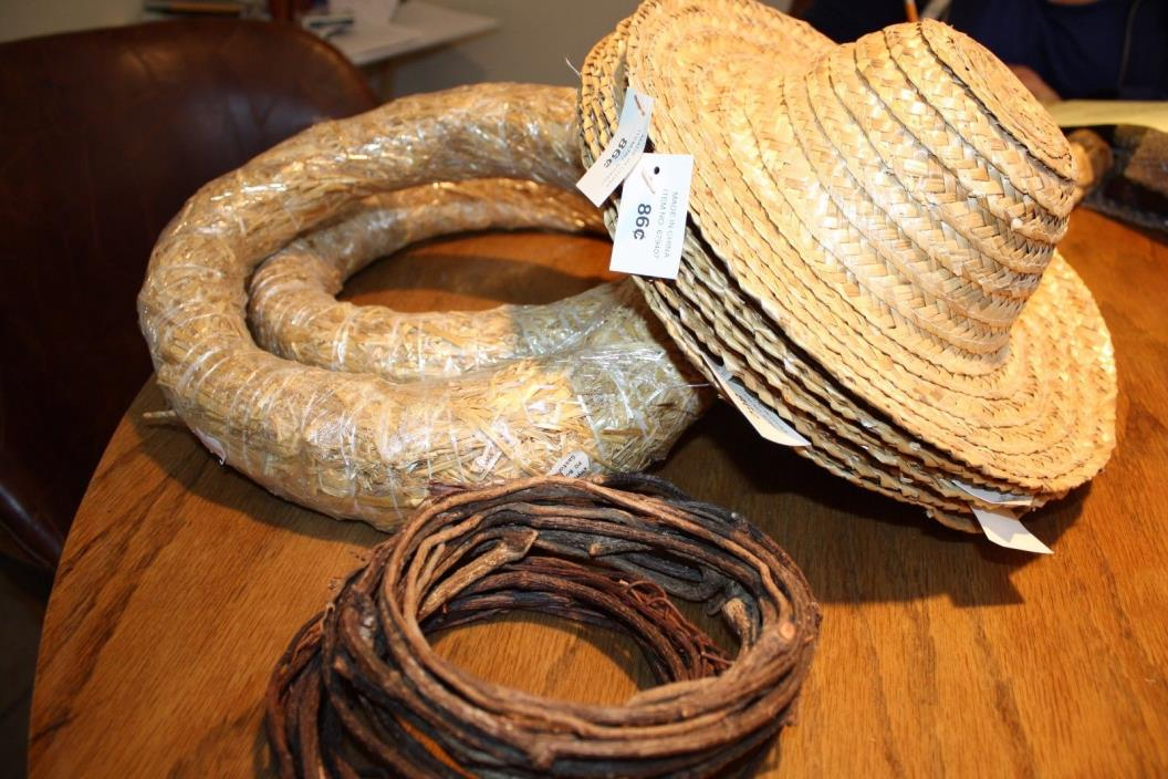 2 Grape vine wreaths, 5 straw hats and 2 straw wreaths