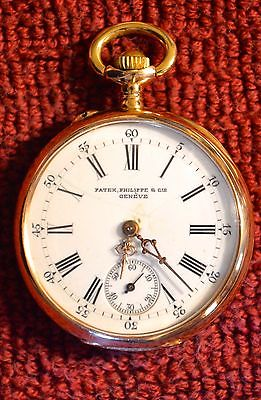 PATEK PHILIPPE 18K GOLD OPEN FACE POCKET WATCH WITH BOX