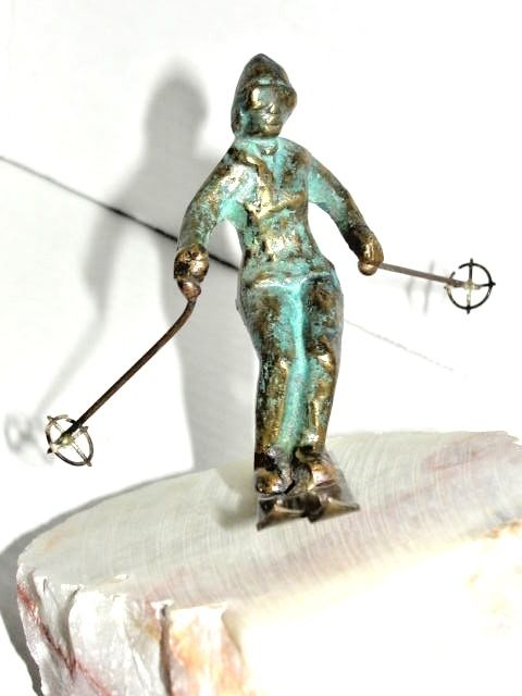 1976 CURTIS JERE FEMALE SKIER SCULPTURE STATUE BRONZE ONYX 4.10 #S BOOKEND
