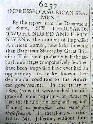 1812 RUTLAND VERMONT newspaper BRITISH IMPRESSMENT AMERICAN SAILORS Jms Madison