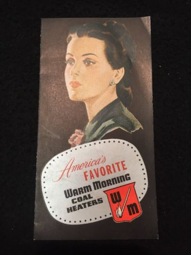 Vtg 1948 ADVERTISING BROCHURE WARM MORNING COAL HEATER STOVE KANSAS CITY MO 40s