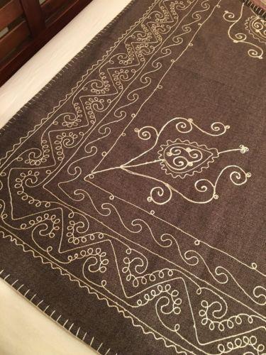 Vintage Wisteria Catalog Throw Blanket Folk Art Embroidery 50