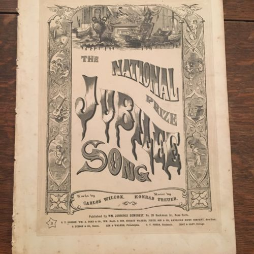 Historic Rare Civil War 1865 Sheet Music The National Prize Jubilee Song
