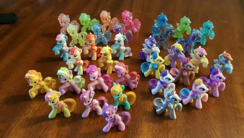 Lot of 35 My Little Pony Mini Figures Glitter Main Characters Metallic Rarity