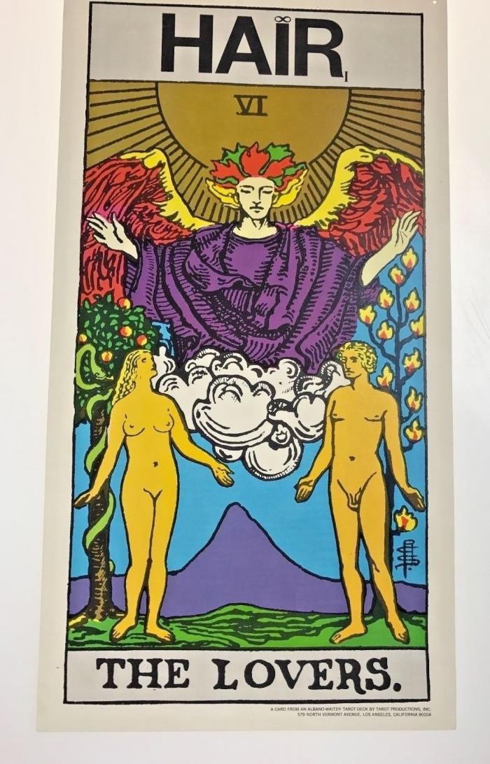Original Vintage 1969 Hair Musical Broadway Handbill Poster Lovers Tarot Card