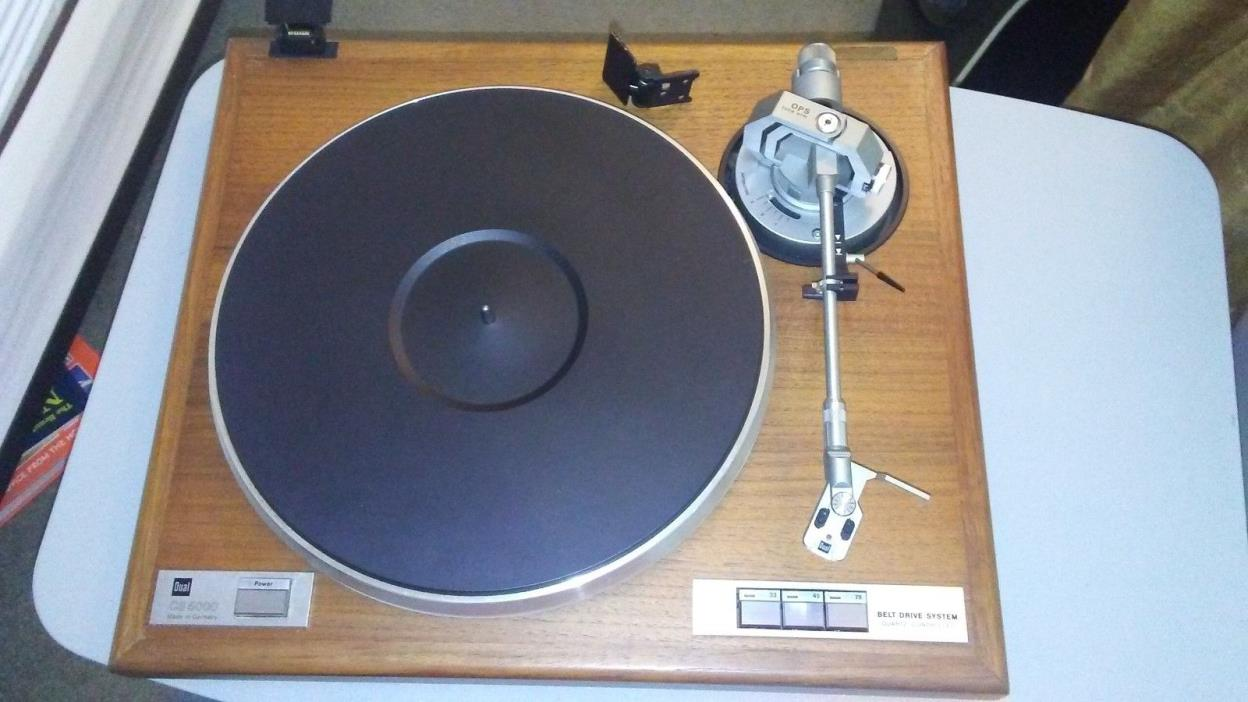 VERY NICE DUAL CS 5000 TURNTABLE W/DUST COVER ORTOFON OMB 10 CART