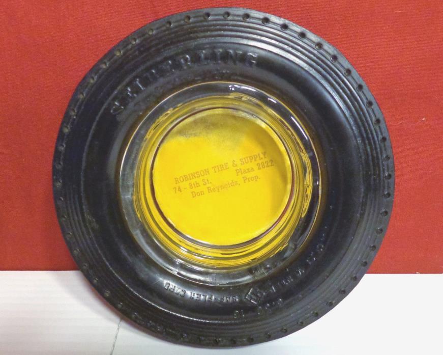 Vintage Seiberling Ribber Tire Ashtray & Glass Insert 5.75