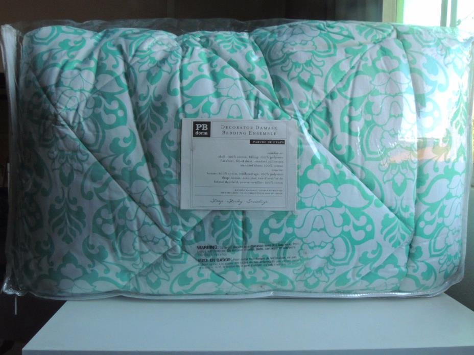 PB Dorm Turquoise/White XL Twin Comforter Set - NWT