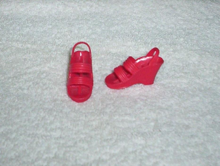 Vintage 1970's BIONIC WOMAN Red Dazzle Sandals Wedge Shoes Kenner