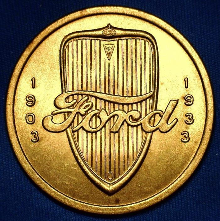 Vintage 1903 - 1933 Ford Motor Company - Thirty Years of Progress - Brass Token
