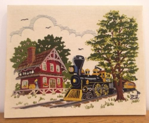 Crewel Embroidery Needlepoint Finished Train Depot Santa Fe 1980