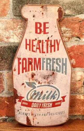 FARM FRESH MILK Vintage Dairy Farm Milk Bottle Advertising Sign Plaque