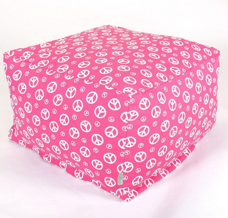 Majestic Home Goods Hot Pink Peace Zippered Slipcovers Bean Bag Chair Ottoman