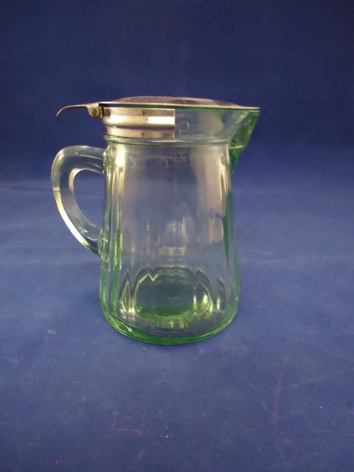 Antique Syrup Pitcher Depression Green Vaseline Glass Metal Lid
