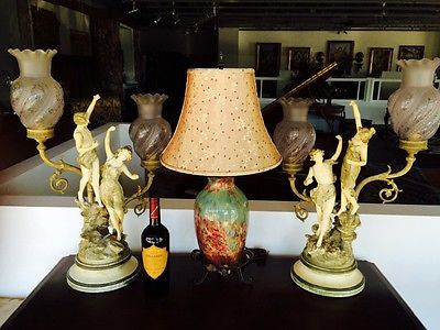 Very fine and beautifully colored pair of lamps,