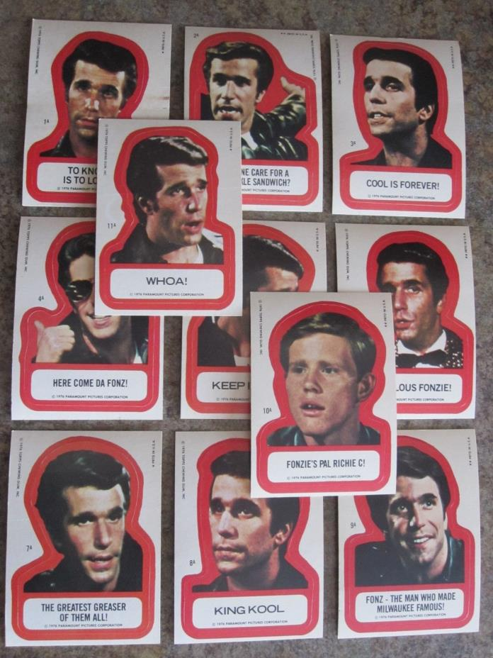 1976 Topps Happy Days 2nd Series 2 - Complete Sticker Set - 11/11  Henry Winkler