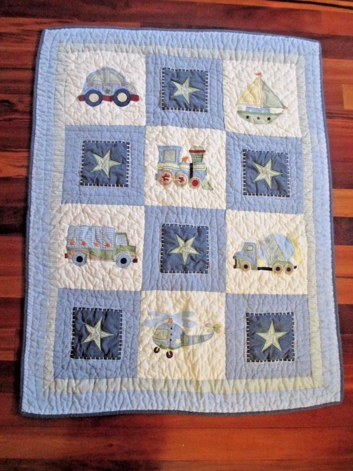 Tiddliwinks Baby Boys Crib Quilt Trains Boats Trucks Stars Blue