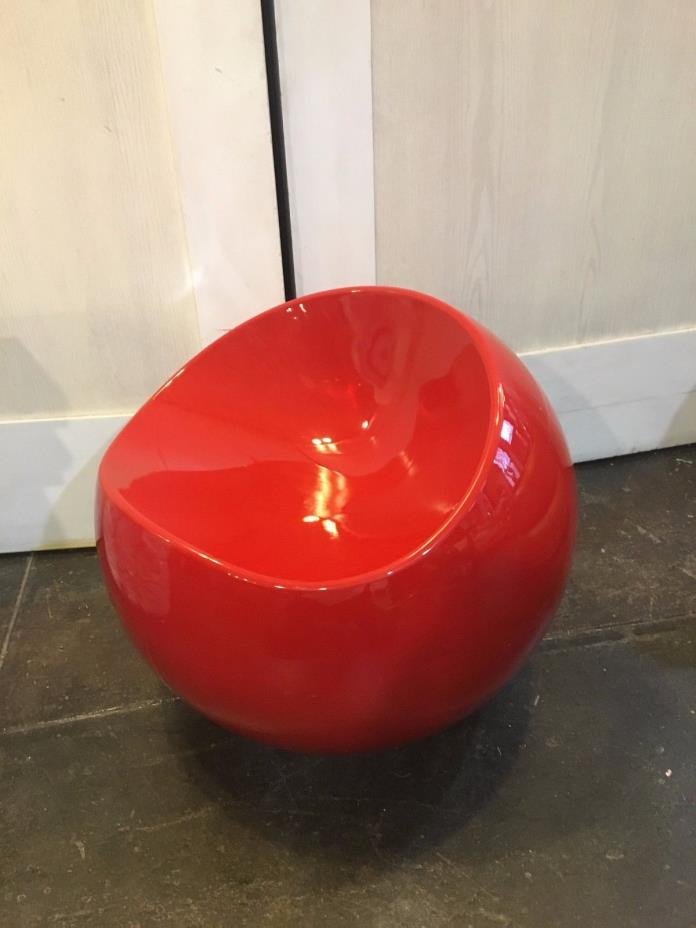 Contemporary Red Round Accent Chair