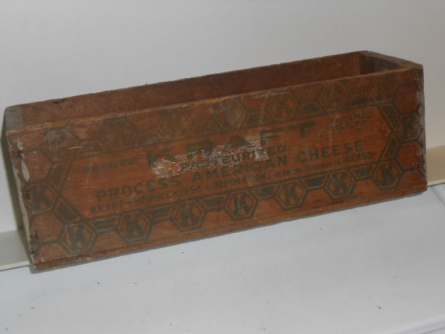 Vtg. Kraft Process American Cheese Wood Box