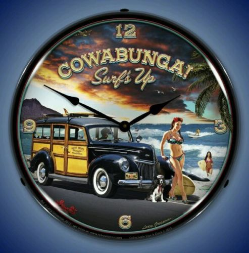New Cowabunga Surfs Up old Ford Woody Beach scene LIGHTED clock Free Fast Ship