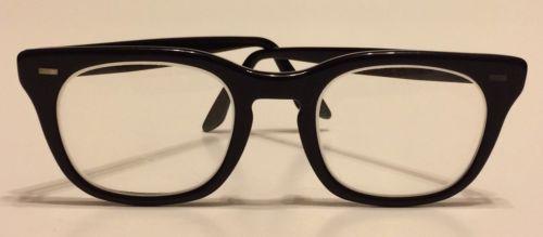 Vintage Black Frame US Military Issued USS Glasses 4 1/2-5 3/4